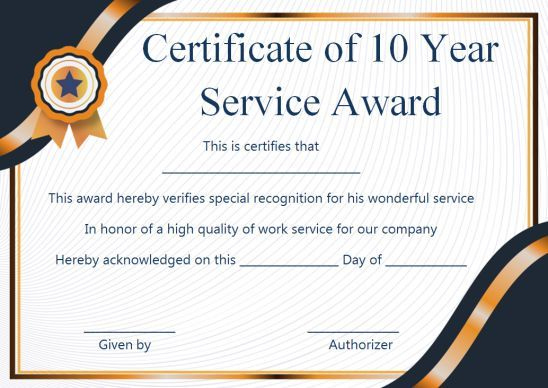 Customer Service Award Certificate: 10 Templates That Give pertaining to Recognition Of Service Certificate Template