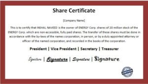 Customizable Business Share Certificate Templates | Word regarding Unique Shareholding Certificate Template