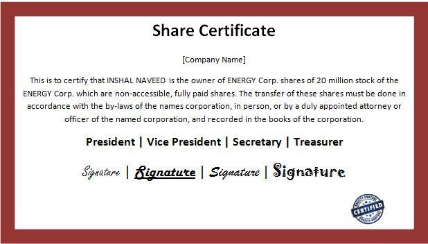 Customizable Business Share Certificate Templates | Word within Template Of Share Certificate