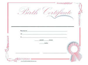 Cute Looking Birth Certificate Template , Birth Certificate intended for Cute Birth Certificate Template