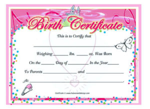 Cute Looking Birth Certificate Template with Cute Birth Certificate Template