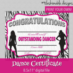 Dance Certificate – Print Your Own – Instant Download intended for Dance Certificate Templates For Word 8 Designs