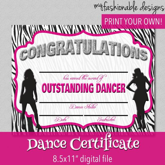 Dance Certificate - Print Your Own - Instant Download intended for Dance Certificate Templates For Word 8 Designs