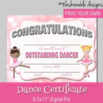 Dance Certificate - Print Your Own - Instant Download intended for Quality Dance Certificate Templates For Word 8 Designs