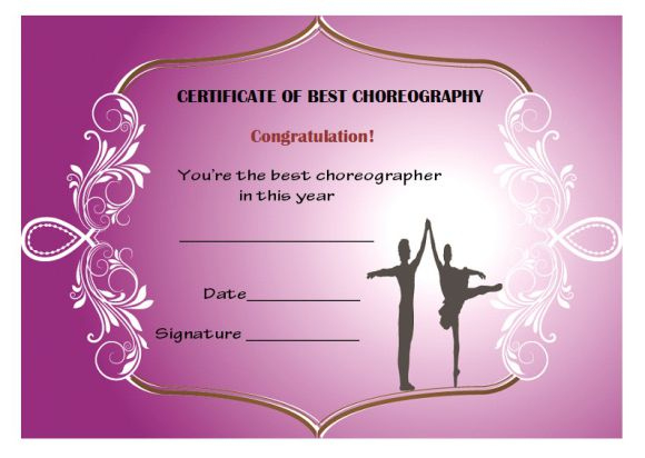 Dance Certificate Template - 26+ Free Certificates For Dance for Quality Dance Certificate Templates For Word 8 Designs