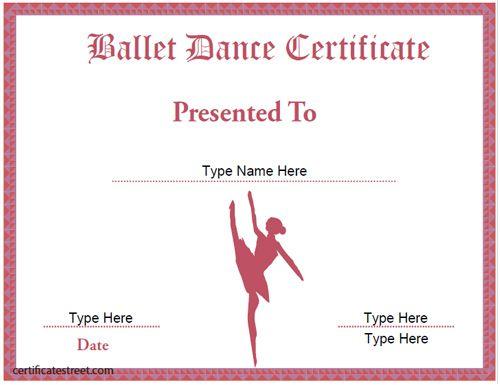Dance Certificate Template | Certificate Templates in Ballet Certificate Templates