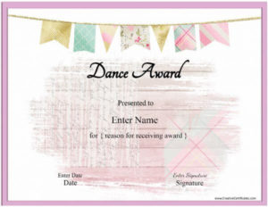 Dance Certificate Template With A Pink Banenr And A Pink with regard to Dance Award Certificate Templates