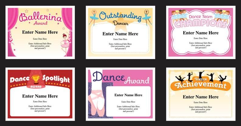 Dance Certificate Templates | Dancing Award Certificates for Best Dance Certificate Template