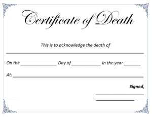 Death Certificate Template – Microsoft Word Templates pertaining to Death Certificate Template