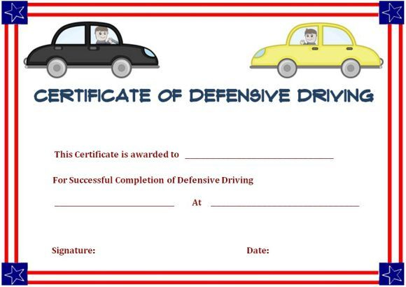 Defensive Driving Certificate Of Completion   Certificate inside Safe Driving Certificate Template