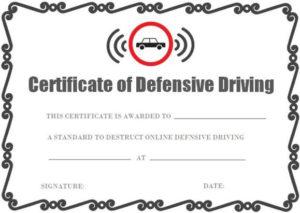 Defensive Driving Certificate Onlines   Certificate within Safe Driving Certificate Template
