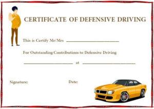 Defensive Driving Certificate Templates   Certificate in Unique Safe Driving Certificate Template