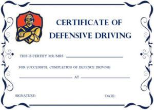 Defensive Driving Certificates   Certificate Templates in Safe Driving Certificate Template