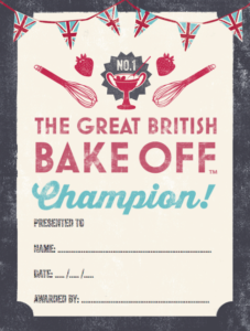 Design Context: What Is Good – British Bake Off Party Pack intended for Bake Off Certificate Template