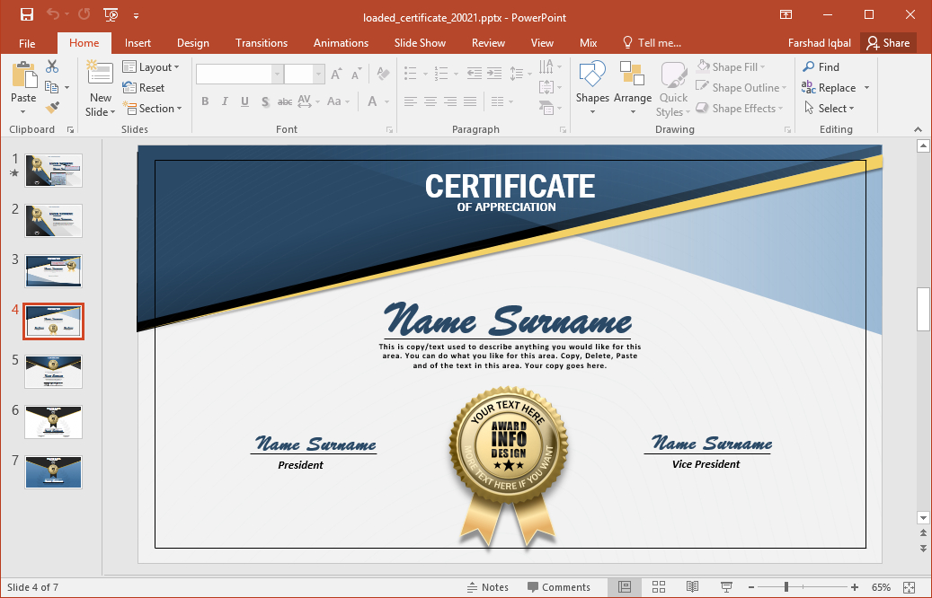 Design Your Own Personalized Certificates - Fppt with regard to Powerpoint Certificate Templates Free Download