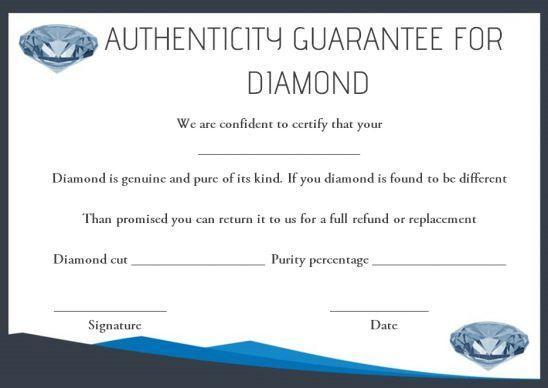 Diamond Certificate Of Authenticity Template   Simple Words inside Fresh Certificate Of Authenticity Template
