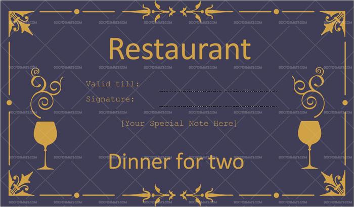 Dinner Certificate Template Free - Best Creative Template Design intended for Dinner Certificate Template Free