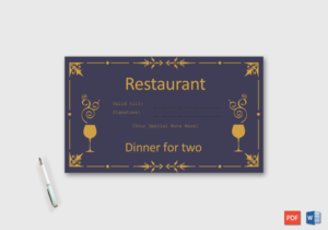 Dinner For Two Gift Certificate Template – Doc Formats with regard to Dinner Certificate Template Free