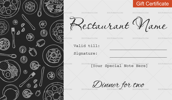 Dinner For Two Gift Certificate Templates - Editable within New Restaurant Gift Certificate Template