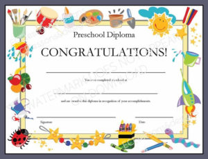 Diploma/Certificate For Preschool Or Daycare: Printable Pdf for Unique Daycare Diploma Certificate Templates