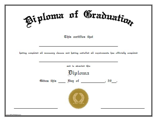 Diploma Of Graduation - Free Printable - Allfreeprintable throughout Unique Preschool Graduation Certificate Template Free