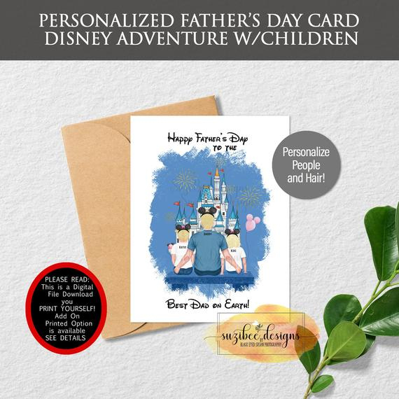 Disney Card, Best Dad, Theme Park Keepsake, Custom Personalized Gift, Magic  Kingdom Family Portrait, Digital Download For New Certificate For Best Dad 9 Best Template Choices