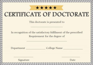 Doctorate Certificate Template Archives – Page 2 Of 2 for Doctorate Certificate Template