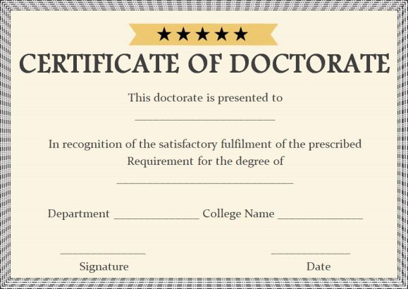 Doctorate Certificate Template Archives - Page 2 Of 2 for Doctorate Certificate Template