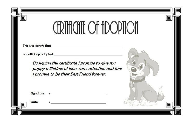 Dog Adoption Certificate Free Printable (1St Design)   Pet within Dog Adoption Certificate Editable Templates