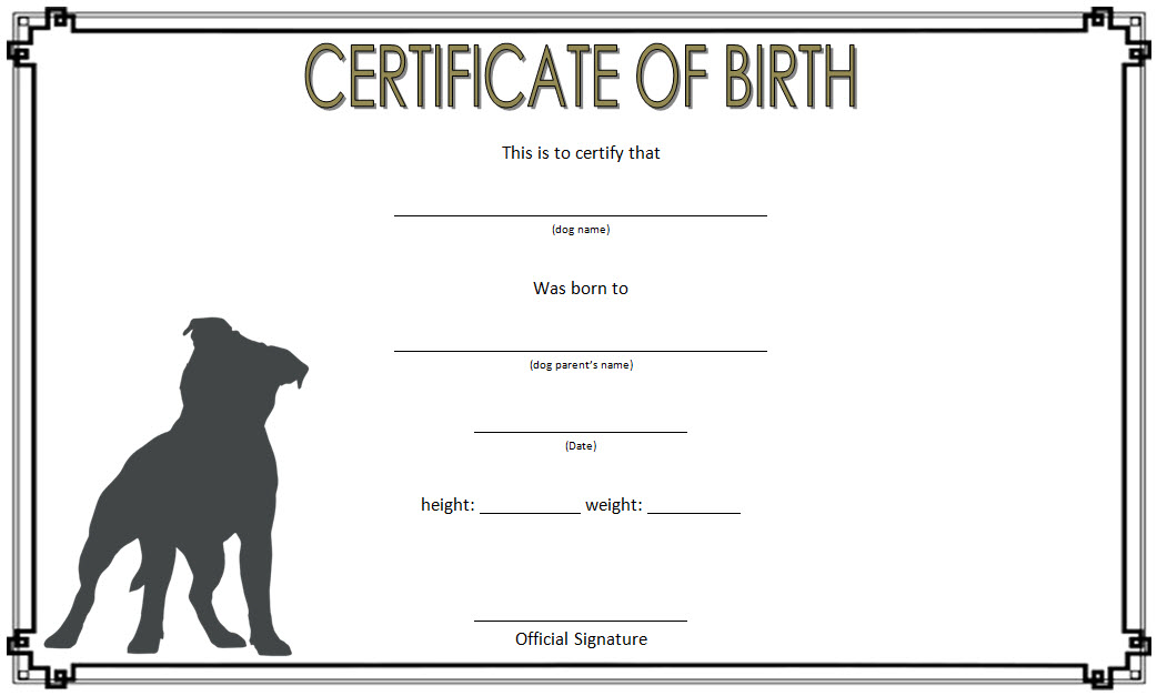 Dog Birth Certificate Template Free 2 | Dog Birth, Birth intended for Unique Puppy Birth Certificate Template