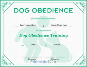Dog Obedience Certificate Format In Onahau, Snowy Mint And intended for Dog Obedience Certificate Template