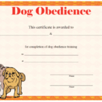 Dog Obedience Certificate Printable Certificate | Dog for Dog Obedience Certificate Template
