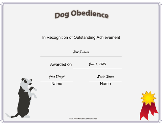 Dog Obedience Certificate Printable Certificate   Training throughout Dog Obedience Certificate Templates