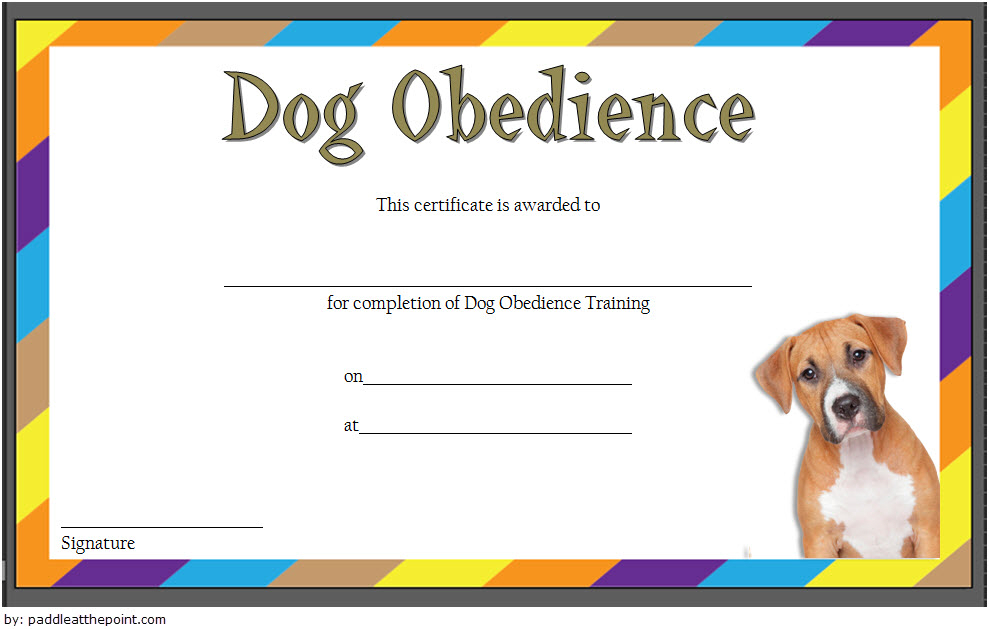 Dog Obedience Training Certificate Template Free 1   Dog intended for Dog Obedience Certificate Templates