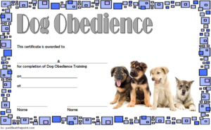 Dog Obedience Training Certificate Template Free 3 | Dog with Best Dog Obedience Certificate Template