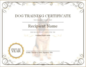 Dog Training Certificate | Microsoft Word & Excel Templates with Dog Obedience Certificate Template