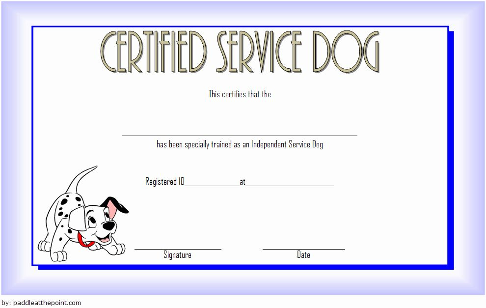 Dog Training Certificate Template Best Of Service Dog Throughout Best Service Dog Certificate Template Free 7 Designs