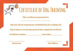 Dog Training Certificate Template | Training Certificate with Dog Obedience Certificate Template
