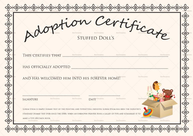 Doll Adoption Certificate Template Inside Pet Adoption throughout New Toy Adoption Certificate Template