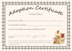 Doll Adoption Certificate Template Throughout Pet Adoption for Unique Pet Adoption Certificate Template