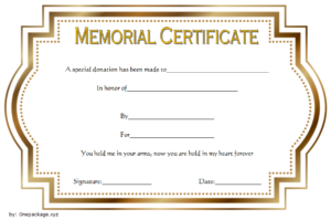 Donation In Memory Of Certificate Template Free 1 for Silent Auction Certificate Template 10 Designs 2019