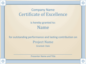 Download Certificate Of Excellence Template For Microsoft pertaining to Quality Microsoft Office Certificate Templates Free