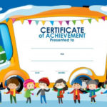 Download Certificate Template With Children In Winter For With Regard To Best Free Kids Certificate Templates