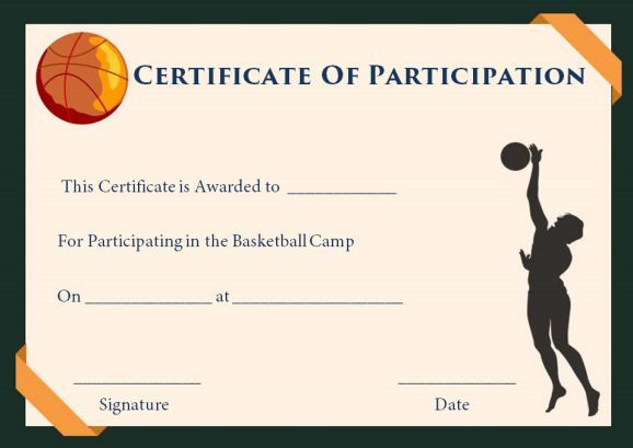 Download Free Editable And Printable Basketball regarding Basketball Participation Certificate Template