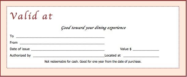 Download Restaurant Gift Certificate Templates inside Dinner Certificate Template Free