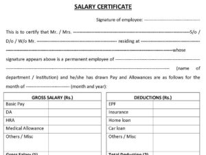 Download Salary Certificate Formats – Word, Excel And Pdf inside Certificate Of Payment Template