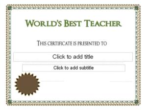 Download Worlds Best Teacher Award Certificate – Free regarding Best Teacher Certificate Templates Free