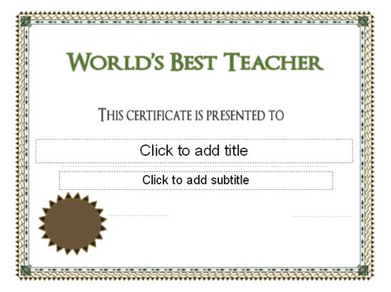 Download Worlds Best Teacher Award Certificate - Free regarding Best Teacher Certificate Templates Free