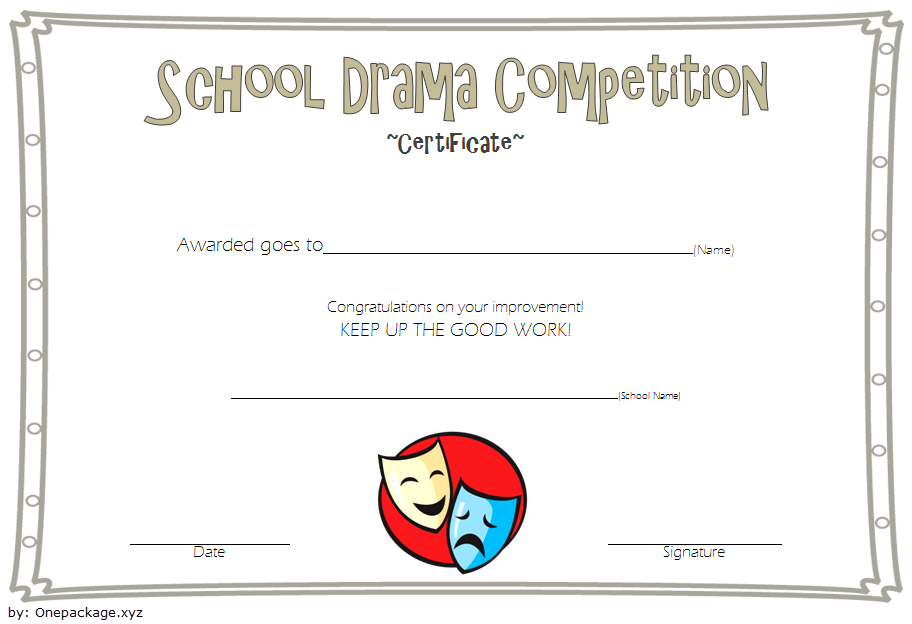 Drama Competition Certificate Template Free 3 in Drama Certificate Template Free 10 Fresh Concepts