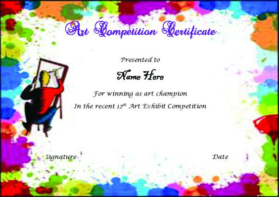 Drawing Competition Certificate | Max Installer for Best Drawing Competition Certificate Template 7 Designs